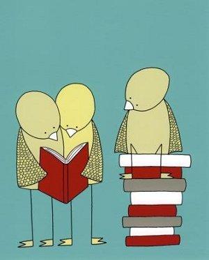 Birds in a Bookclub courtesy of Barking Bird Art
